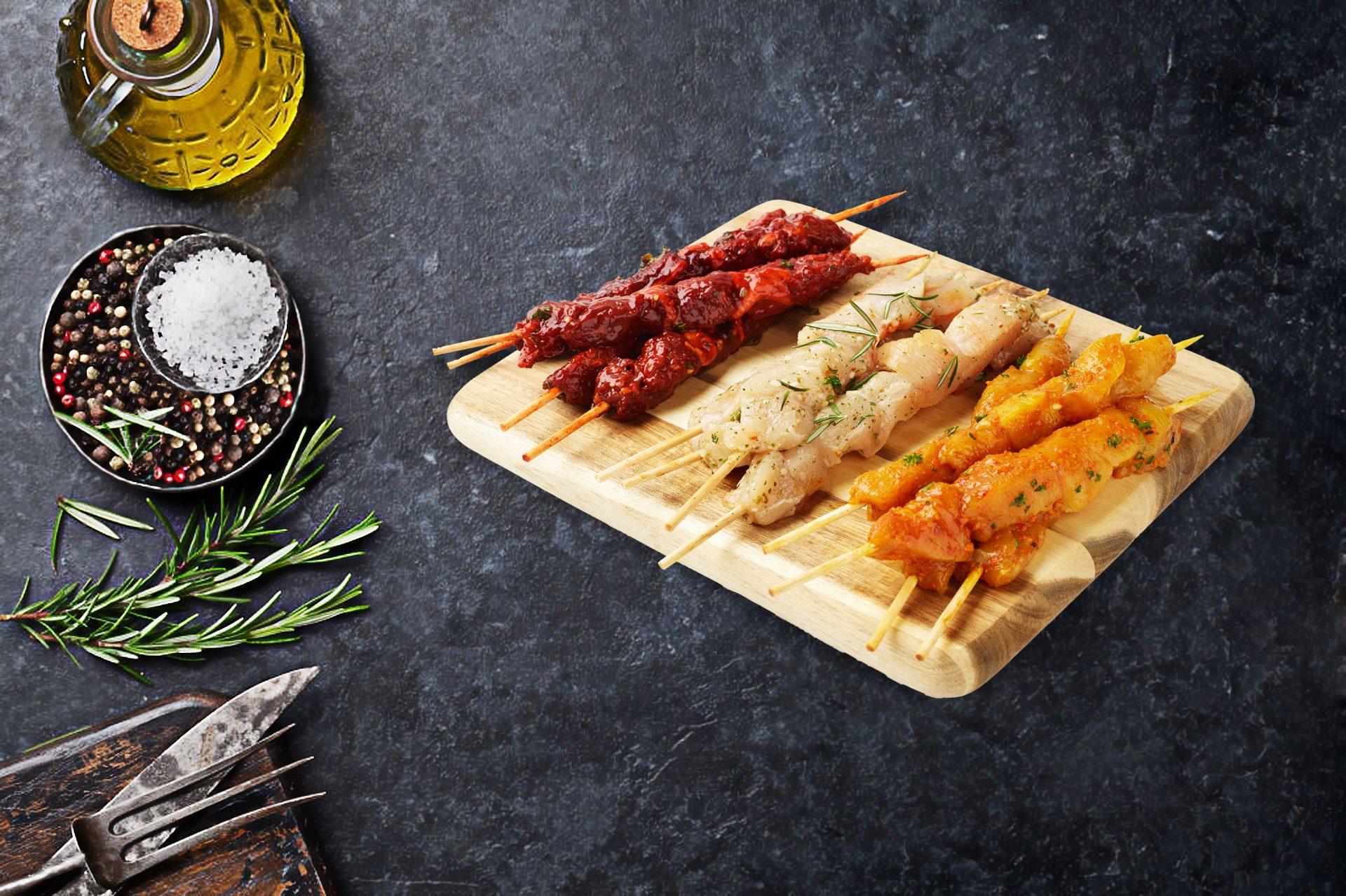Satay Chicken Sticks & Garlic Chicken Sticks