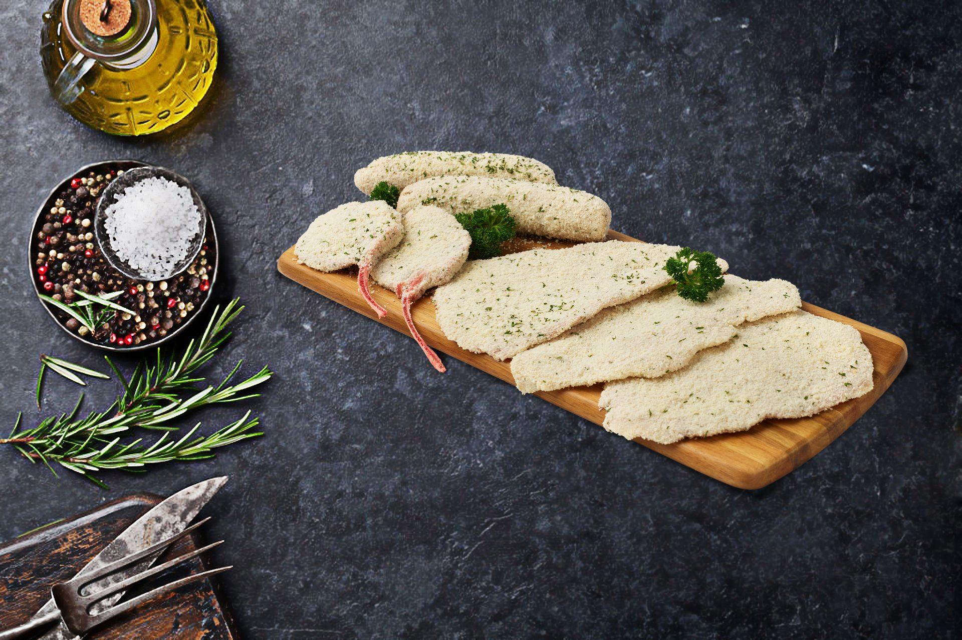 crumbed french lamb cutlets, crumbed sausages, veal schnitzel, chicken schnitzel, pork schnitzel