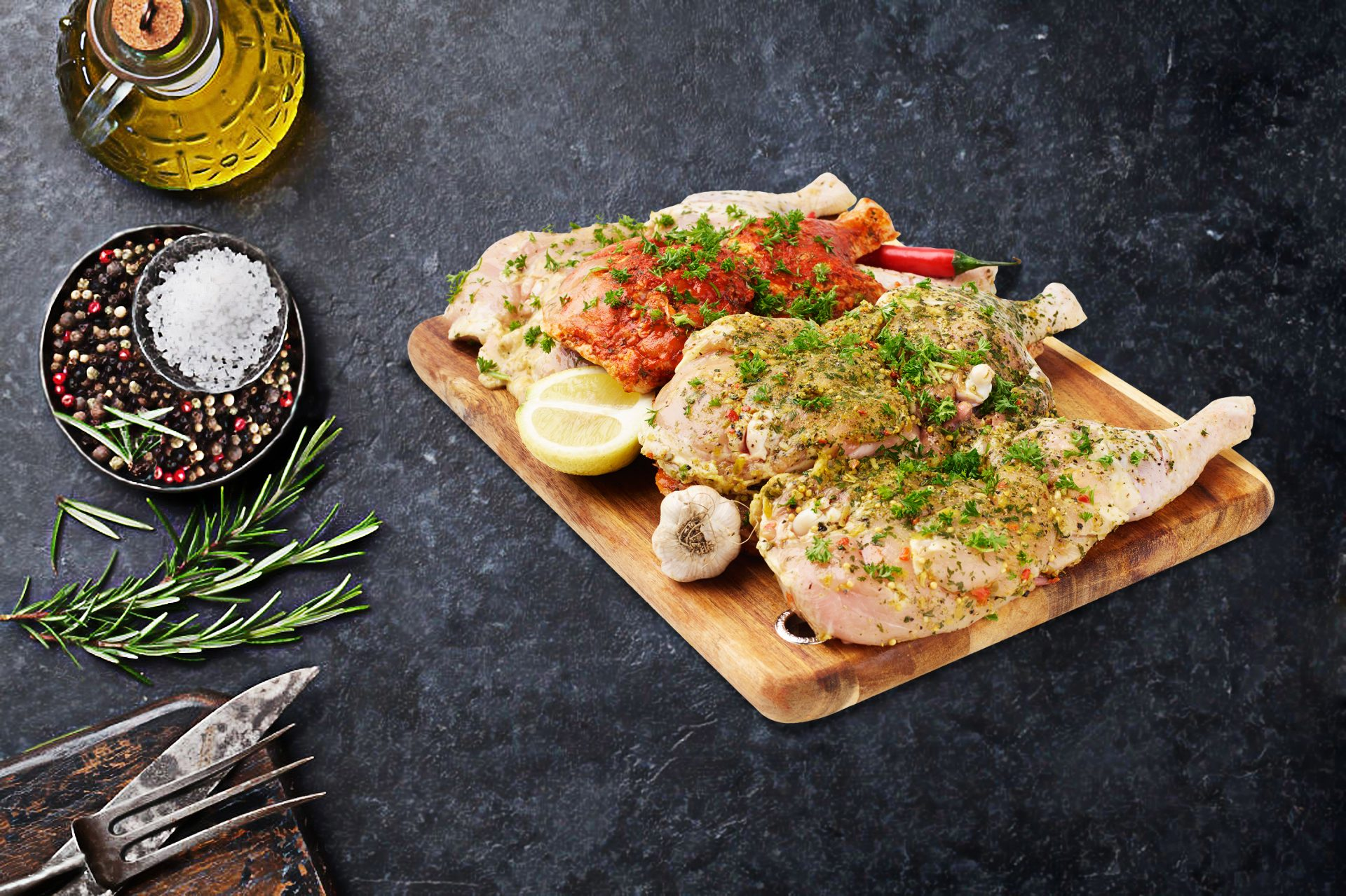 French Onion / Portugese / Lemon Pepper Butterfly Chicken